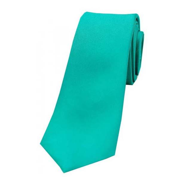 Turquoise Satin Silk Thin Tie