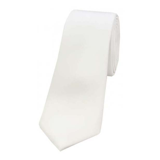 White Satin Silk Thin Tie