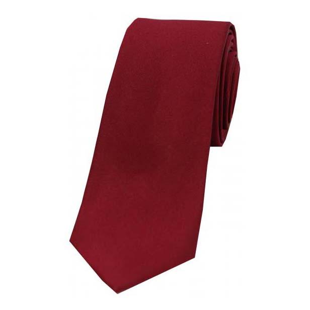 Wine Satin Silk Thin Tie