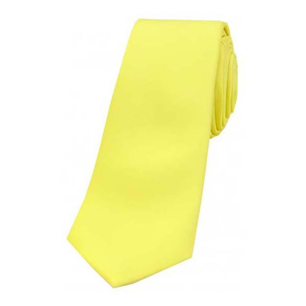 Canary Yellow Satin Silk Thin Tie