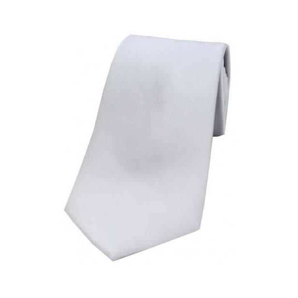 Silver Satin Silk Tie