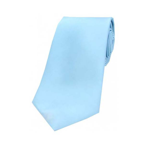 Sky Blue Satin Silk Tie