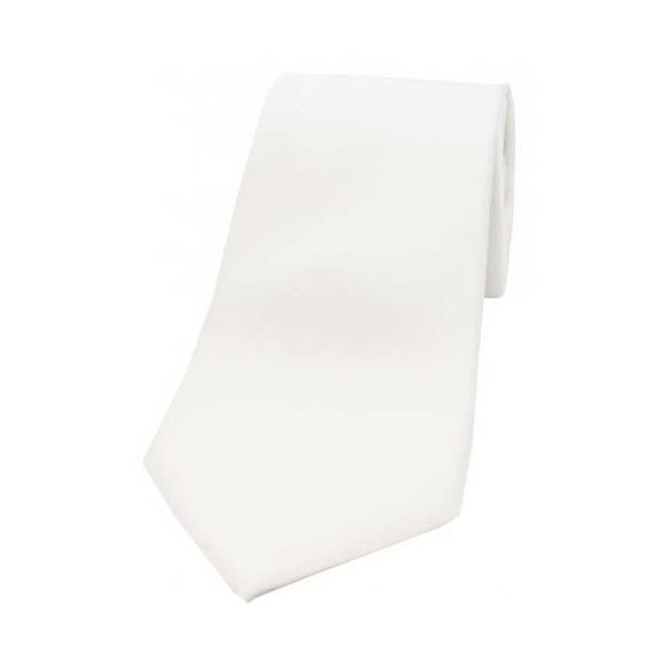White Satin Silk Tie