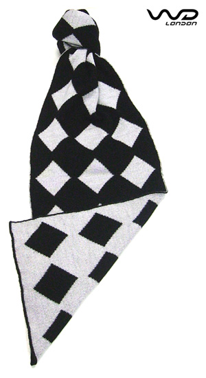 Black & Silver Diamond Reversible Merino Lambswool Scarf