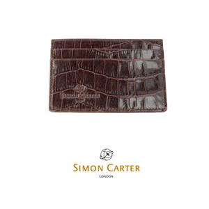 Brown Mock Croc Leather Credit Card Wallet