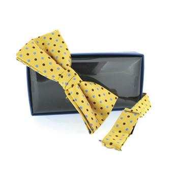 Yellow And Blue Polka Dot Self Tie Bow Tie